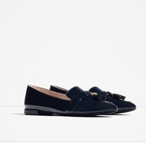 Zara Navy Tassle Loafers sz 38